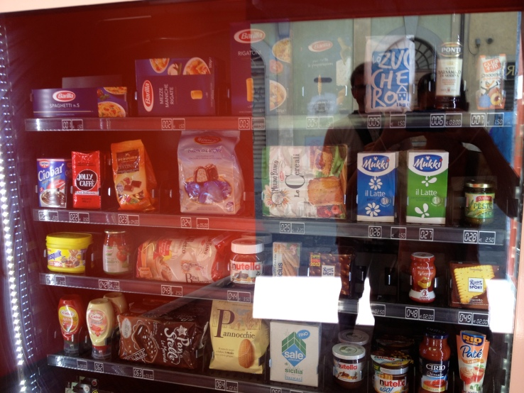 An Italian vending machine. Noodles, Nutella, and cartons of millk - everything you might need but wine.