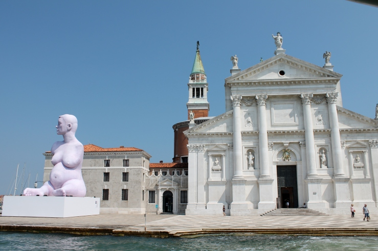San Giorgio. The purple statue is part of the Biennale.