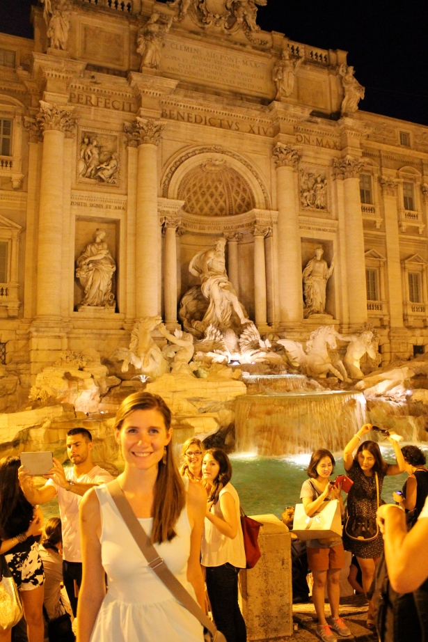 Me at the Trevi Fountain at night.