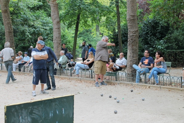 Bocce at Luxembourg Gardens. That guy on the right was the star player.