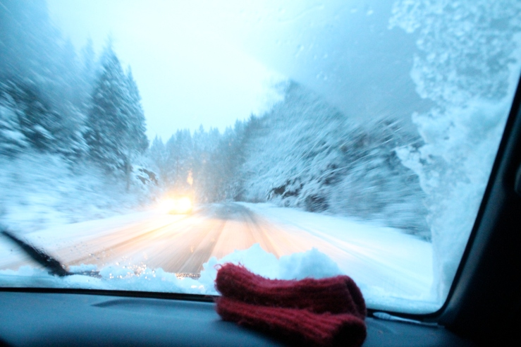 Driving into town and red wool mittens.