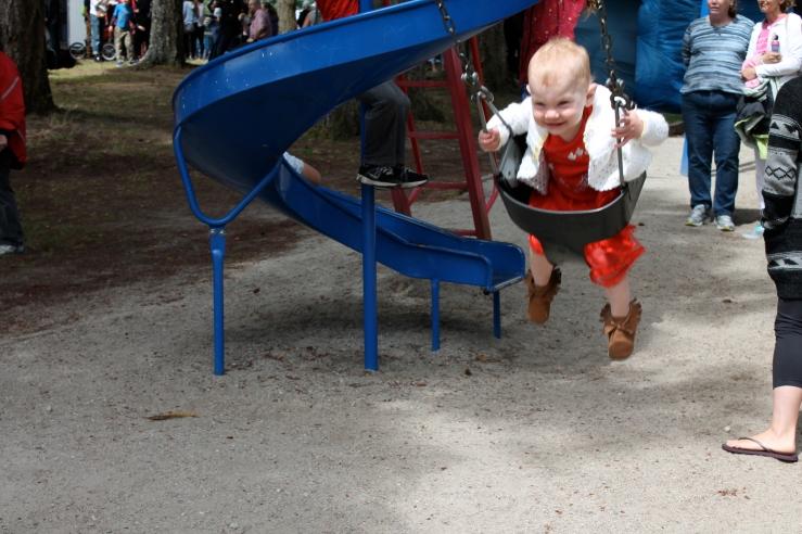 She also loves swings.